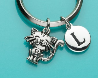 Cat Keychain, Cute Cat Key Ring, Initial Keychain, Personalized Keychain, Custom Keychain, Charm Keychain, 297