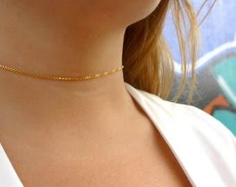Dainty Gold Chain Choker Necklace  | Chain Choker | Gold Choker | Dainty Choker | Thin Choker | Delicate Choker | Adjustable Gold Choker