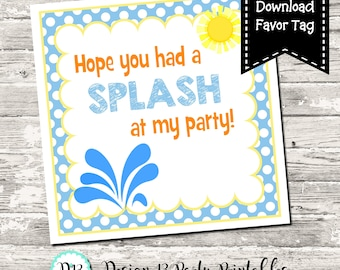 INSTANT DOWNLOAD Had A Splash At My Party Pool Party Birthday Square Tag Digital Printable