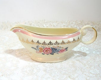 Taylor Smith Vintage Gravy Boat with Pink Floral Bouquet
