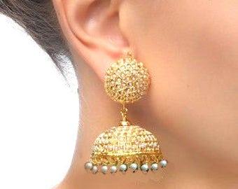 Gold JHUMKAS Large ,Pearl jhumka earrings,Gold vermeil Earrings,Freshwater Pearl earring-Kundan jewellery-Jadau- Jadhtar Rajasthani earrings