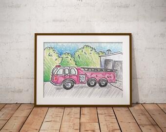 Fire Engine Leaving Fire Station PDF - Crayon Drawing - 8x10 - Crayon Art Print - Kid's Room Art - Baby's Room Art