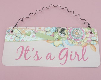 IT'S A GIRL Sign |  Baby Shower Gift, Wreath Decoration, Gender Reveal Party, Nursery Room Decor, Pink Pastels | Table Centerpiece Aluminum