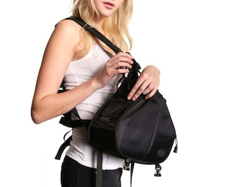Camera Bag / Camera Bag with Personalized Patch / DSLR / Camera Case / Camera Bag Purse /  Camera Backpack / Medium / Two Lenses / Black