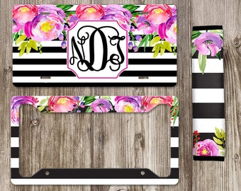 Monogram License Plate, Personalized License Plate, Front Car Tag, Car Plate, Car Accessories, Set Belt Cover