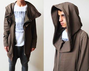 2018 Winter Essentials Oversized Hood Long Sleeve Hoodie // Raw Edges at Sleeve Cuffs // Avant Garde Over long Assasian CREED Hoodie