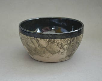 Black bubble-glazed bowls- Handmade stoneware ceramics