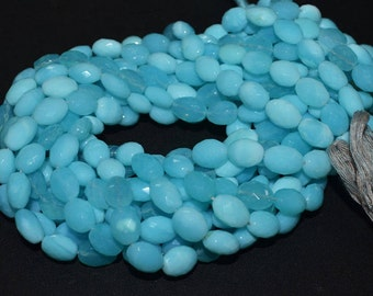 "Beautiful Natural Peruvian Blue Opal Oval Shape Faceted Briolette - Peruvian Blue Opal Beads , 8x9 - 8x12 mm , 14.5"" - BL805B"