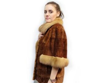 Sheared Fur Jacket, Marten Fur Brown Jacket F398