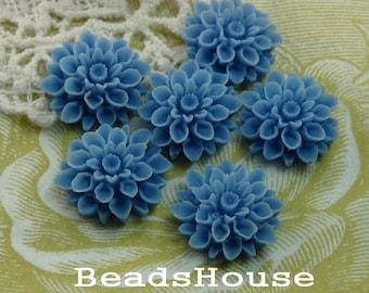 37-00-CA   6pcs Beautiful Crysanthemum Cabochon - Sapphire