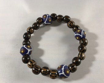 Men's Bracelet with Purple & Brown African Beads