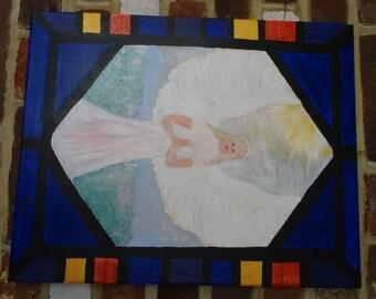 Angel painting, Angel art, Hand painted, original art, acrylic on canvas, ready to hang, unique gift, Christian art, Spiritual art, wall art