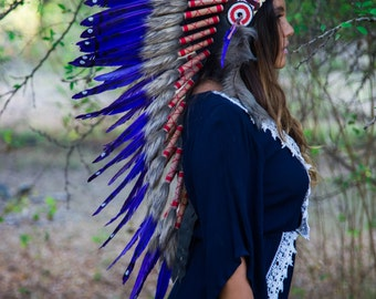 The Original - Real Feather Purple Chief Indian Headdress Replica 90cm, Native American Style Costume Hand Made War Bonnet Hat