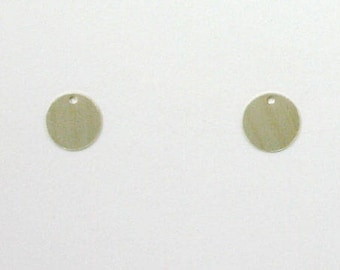 Sterling Silver 11mm Plain Disk Charms, Set of 2