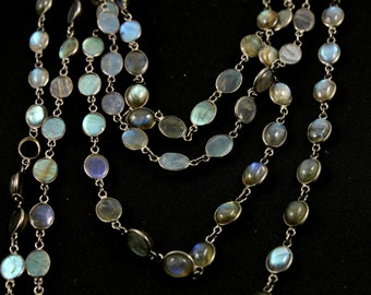 Labradorite Oval Bezel Chain, Sterling Silver with Antique finish, 7x9mm, Sold By the Foot (GMC-BZ-LAB12)