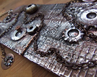 Gift Tag For Men Hardware Metal Art Found Items Keepsake Industrial Rivets Bolts Washers Rust Chain Staples Gears Unique OOAK