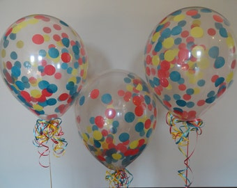 """3, 6, or 10 Count Large 16"""" Confetti Balloons with Peacock, Yellow, and Red Confetti- Wedding, Shower, Baby, 1st Birthday, Suess, Prom, Grad"""