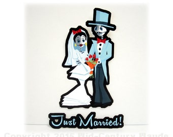 Just Married Vinyl Car Sticker Day of the Dead Bride and Groom Decal Waterproof