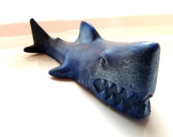 Shark Soaps, Shark Soap Set, Set of 2, Great White Shark, Gray, Navy Blue, Aqua, or Slate Blue Shark, Fish Soap