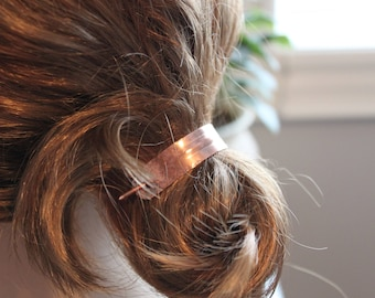 Copper bun holder, Hair cuff, Minimalist hair slide, Modern hair accessories, Hair pin, Pony tail clip, Hair barrette - HP041