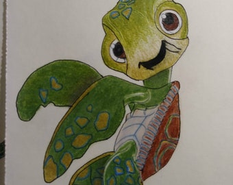 OOAK Original Colored Pencil Drawing of Squirt
