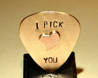 Bronze Guitar Pick with I Pick You and Special Copper Heart - GP5127
