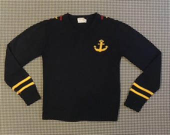 1970's, nautical theme, V-neck sweater, in navy blue, Boys size Medium, Women's size Small