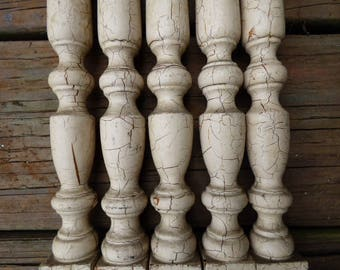 Vintage wood spindles rail balusters Table legs chippy white 26 1/2 inch posts architectural salvage supplies Shabby Rustic farmhouse