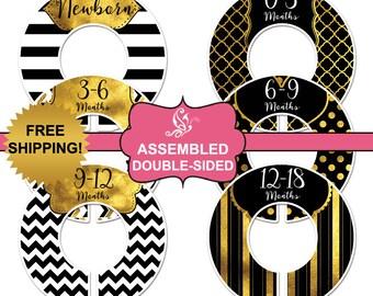 6 baby closet dividers (No.11) gold black girl clothing organizer Assembled Closet Doodles®