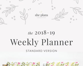 2018-19 Weekly Planner | 2018-19 Planner, Weekly Agenda, She Plans Planner, Weekly Diary, Academic Planner Style No. STAND1819/PPF