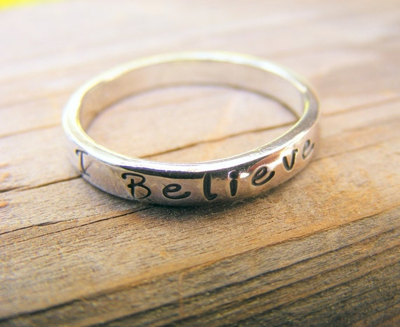 Custom Personalized Handstamped Engraved Stacking Sterling Silver Ring Jewelry, One Memory Ring