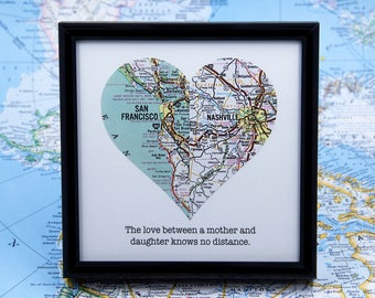 Mother Daughter Gift Mother's Day Gift Mom Birthday Gift Personalized Distance Grandma Long Distance Mom Framed Map Heart Mother In Law Gift