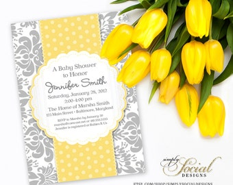 Damask Yellow and Grey Baby Shower Invitation