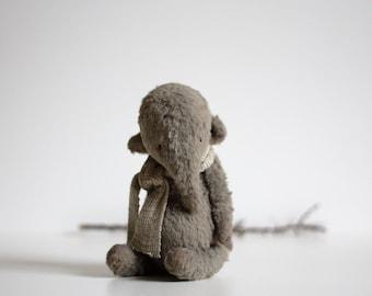 Stuffed Animal Stuffed Elephant Linen Scarf 7 Inches Stuffed Toy Mohair Elephant Plush Toy Handmade Toy Soft Toys Artist Teddy Bear
