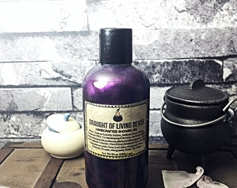 Draught of LIVING DEATH Lavender Essential Oil Shower Gel Body Wash 10oz Sleep Sleepy Soaps Horror Goth Soaps Potions Witchy Witch Magick