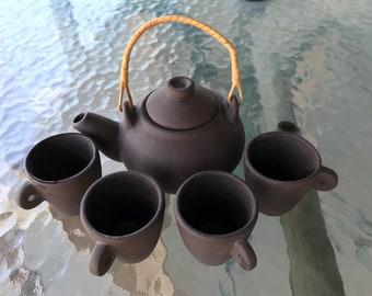 Miniature Brown Clay Tea Set- Teapot and 4 cups- Childs Tea set/small decor tea set. Unglazed,unmarked.