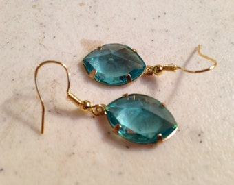 Blue Earrings - Gold Jewellery - Fashion Jewelry - Style - Dangle - Bridesmaid