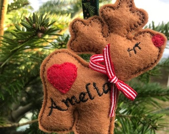 Personalised Felt Reindeer Christmas decoration / tree hanger / xmas tree decoration
