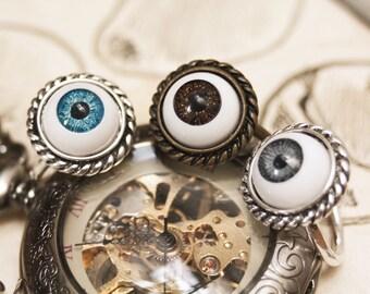 Eyeball ring, doll eye ring, halloween jewelry, creepy cute, doll parts jewelry, evil eye, curiosity, eye ring, gothic jewelry, creepy doll