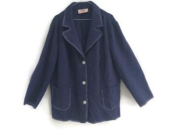 Vintage womens  jacket / Womens wool jacket / womens blue felted wool jacket /  Austrian KITZ & PICHLER  wool jacket size XL