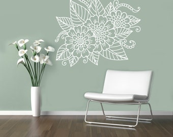 Henna Mehndi Stickers : Abstract flowers mehndi wall vinyl decal henna indian ornament