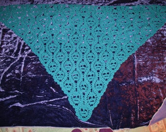 Ladies Shawl Hand Crocheted (The Lost Souls)l Turquoise