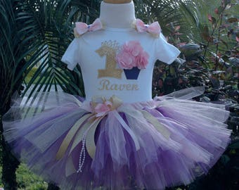 Pink, Gold Purple Cupcake 1st Birthday Baby Girl Outfit,one year old,personalized,first birthday, smash cake set, first birthday tutu