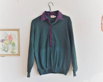 green and plaid small vintage sweatshirt