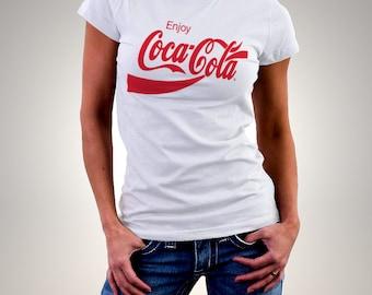Coca Cola Enjoy Red Logo White Woman Printed T-shirt