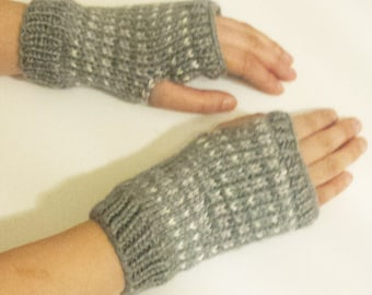 Knit Fingerless Mittens - Grey and White