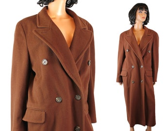 Vintage Trench Coat Sz L Evan Picone Brown Long Wool Cashmere Winter Jacket Free US Shipping
