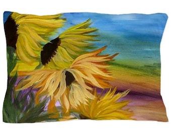 Sunflowers Field Pillow Case from my original art