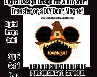 Printable Girl Scarecrow Mouse Head DIY Iron On Transfer Minnie Ears Mouse Head Personalized Shirt Transfer Matching Shirts DIY Disney Shirt