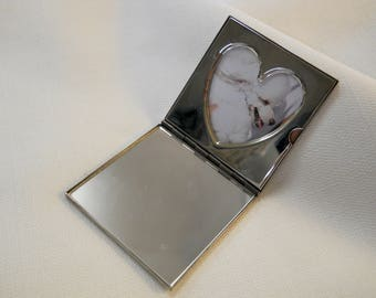 Vintage 1980s 80s Photo Compact Silver Plated Square Mirror Compact Heart Frame Purse Mirror Flat Compact Beauty Accessories Beauty Tools